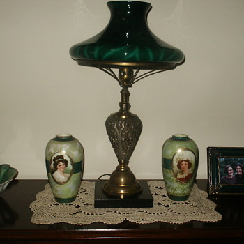 Lamp w/Emeraldware shade.  ID requested