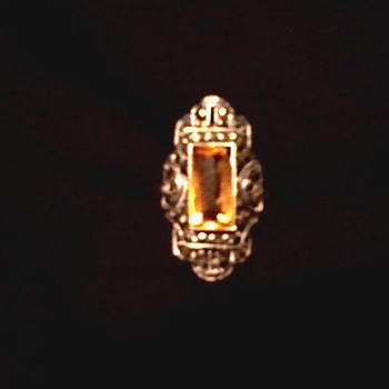 Citrine-Topaz (?) and Marcasite Sterling Art Deco Ring/Marked Ster[Theda]Ling /Circa 1920's- 30's - Art Deco