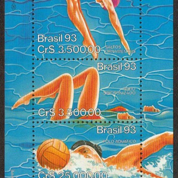 "1993 - Brazil ""Water Sports"" Souvenir Sheet"