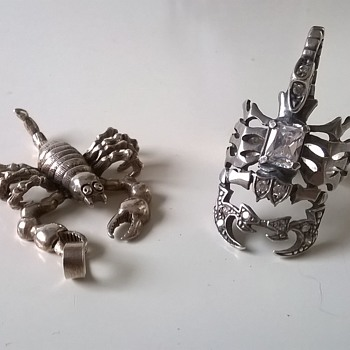 Sterling Silver & Crystals Scorpion Ring & Jointed Sterling Scorpion Pendant - Fine Jewelry
