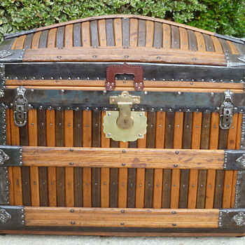 Early 1880's Martin Maier Oak Slat Antique Trunk