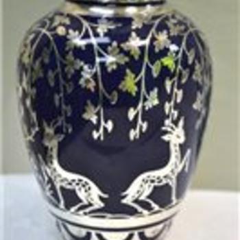 helop silver overlay cobalt vase