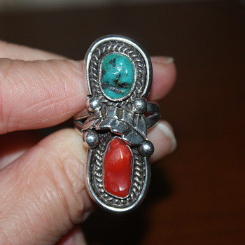 Large Ring with Coral and Turquoise
