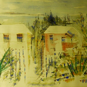 "1 of 2, Watercolours, Bermuda Homes""Alfred Birdsey"" Bermudan/British (1912 - 1996)Circa 1960-70 - Visual Art"