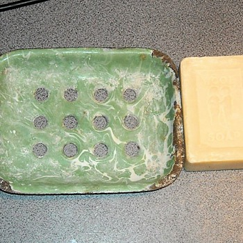Graniteware/Enamelware Soap Dish with 100 Year Old Wool Soap - Kitchen