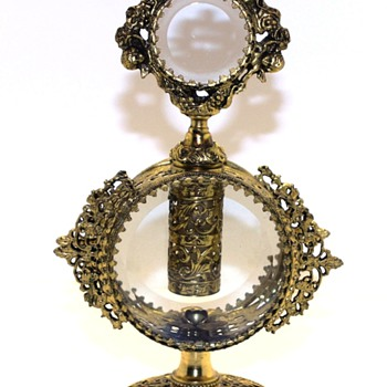 Gold Gilt Ormolu Filigree with clear beveled glass & cherubs- 1950s
