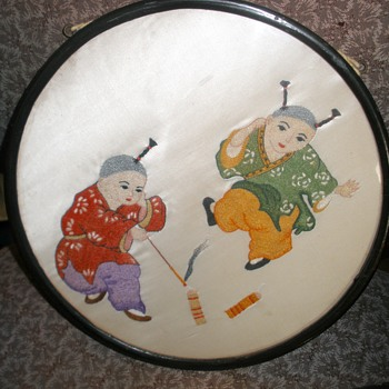 Chinese Boys w/Firecrackers Silk Embroidery On Silk - Type of Needlework?