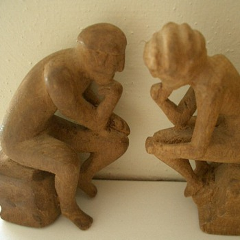 """Mr and Mrs "" primative wood carving - Folk Art"