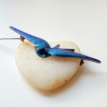 Blue bird silver enamel Meyle and Mayer brooch.