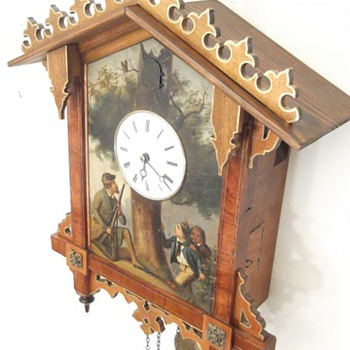 "Gorgeous antique hand painted ""tin plate"" cuckoo clock. Ca 1860"