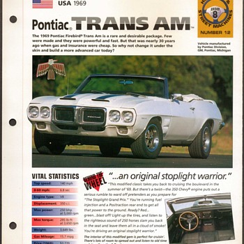 Hot Cars Card - Pontiac Trans Am - Cards