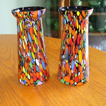 Pair of  FRANZ WELZ or Kralik? unusual-shaped VASES with Thick Confetti Spatter