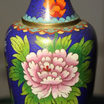 Smaller Cloisonne Vase with Floral Designs - Asian