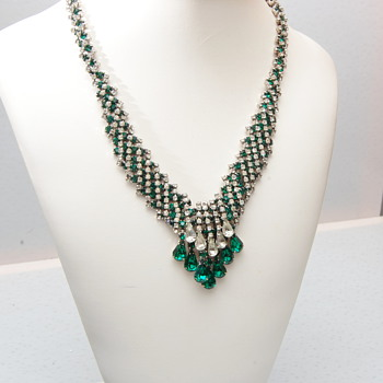 Kramer of New York Green and Clear Dangling Necklace