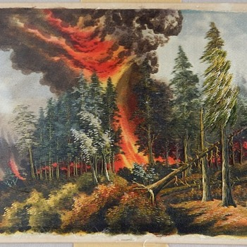 Silk Painting (Tapestry?  Needlepoint?) of Forest Fire - Visual Art