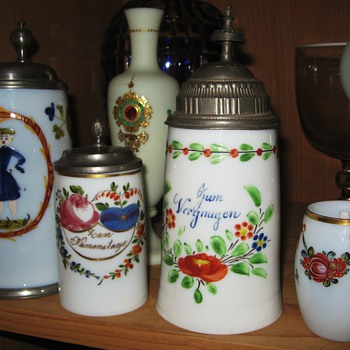 Some Bohemian Glass Steins