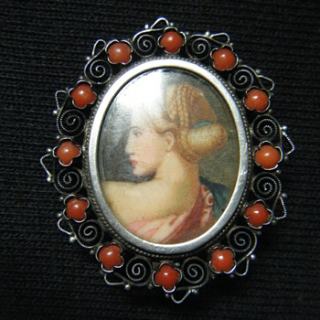 ANTIQUE VICTORIAN Sterling Silver + red coral MINIATURE HAND PAINTED PORTRAIT BROOCH - Victorian Era