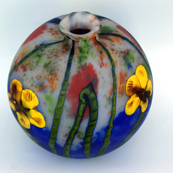 Kralik Grand Marquetry Ball vase MONSTER size - Art Glass