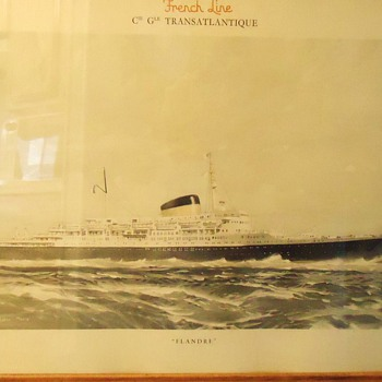 Marin Marie 1901-1987, French Modernist Artist Colored photo print, 1st Fr. Ocean Liner after WW-2.