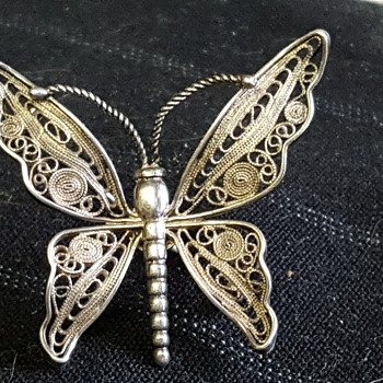 Victorian filigree butterfly  - Sterling Silver