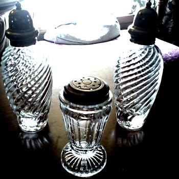 Salt and Pepper Shakers plus One / Pewter and Aluminum Tops / Unknown Make and Age - Glassware