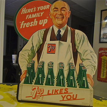 7up 1950s Cardboard Sign, Near Mint Condition