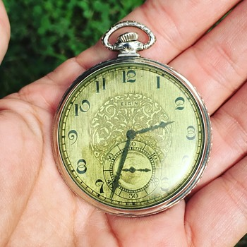 Vintage Elgin Pocket Watch w/ Green Dial