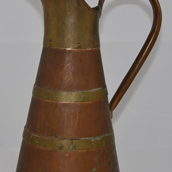 Arts and Crafts Copper and Bronze or Brass Pitcher
