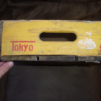 YELLO WITH RED WRITING WOODEN CRATE -TOKYO--1968
