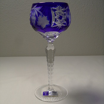 Bohemian, Cut to Clear, Cobalt Blue Goblet - 8 3/8""