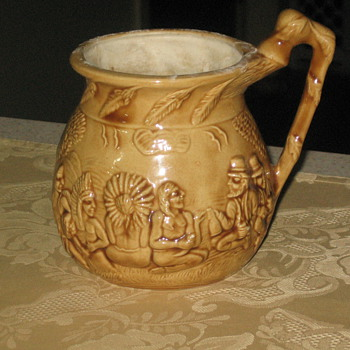 INDIAN &amp; PILGRAMS RAISED RELIEF SMALL VASE 