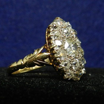 14k Diamond Art Nouveau Era Ring - Old Mine Cut