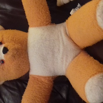 white and bright orange teddy bear - Animals