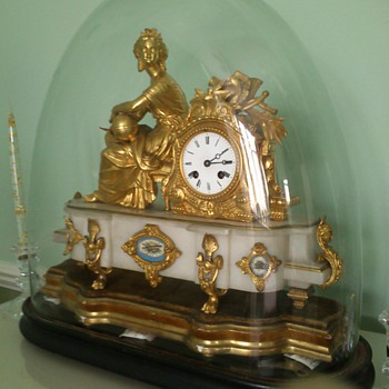 Antique Mantle Clock glass dome; could be gilt; French; marble; Uranie - Clocks