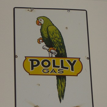 "Polly Gas Pump Sign - found it ""back in the day"""