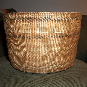 "Old Alaskan Tlingit Basket with the names  ""Nellie"" and ""Leonteen"" Woven Into It"