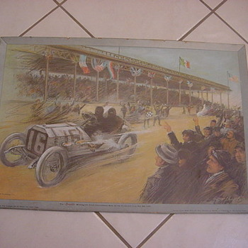 Locomobile 1908 vanderbilt cup poster sign - Signs