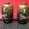 Japanese small & sweet pair of Satsuma vases 1000 faces with bases