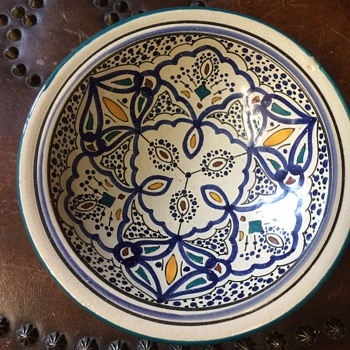 Vintage Italian Mediterranean Red Clay pottery - Blues, greens, yellows - Art Pottery