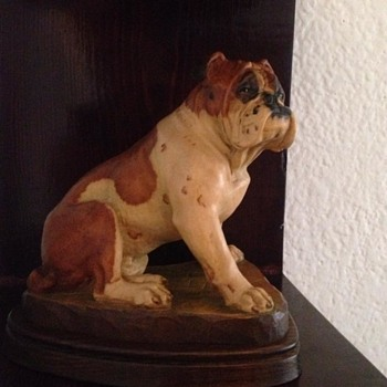 My carved wood bulldog