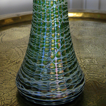 Iridescent Tall Threaded Vase - Art Glass