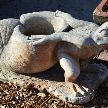 Cast Stone Planters - Frogs Dragging Snails - Art Pottery