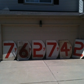 Wooden Gas Number Signs