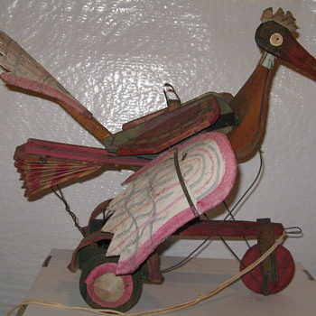 Antique Folk Art Pull Toy Bird Need  help identifying  - Folk Art