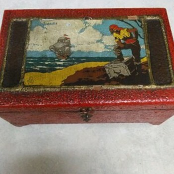 WOOD OIL PAINTING PIRATE CHEST