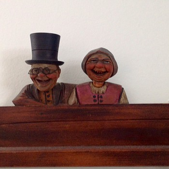 Folk Art Hand Carved Wooden Nodders: Man & Woman: European?