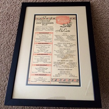 Vintage Menu From Famous Willard Coffee Shop