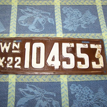 1922 Washington State Auto License Plate