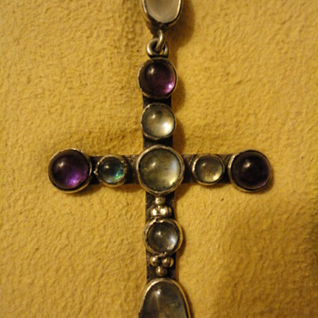Arts and Crafts Amethyst and Moonstone Cross Pendant