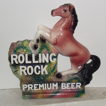 Rolling Rock Premium Beer Chalk Back Bar Statue